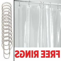 InterDesign Vinyl 4.8 Gauge Shower Liner with 12 Shower Hook