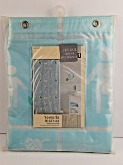 Excell Home Vinyl Eva Shower Curtain Bathroom Tiles Mulit-Co