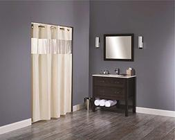 Hookless HBH08VIS05 Vision Shower Curtain Beige With Clear T