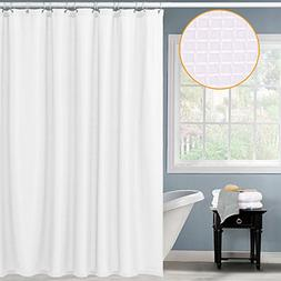 CAROMIO Waffle Fabric Shower Curtain, Water Repellent and Mi