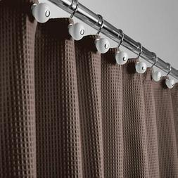 "mDesign Waffle Weave Fabric Shower Curtain - 72"" Long - Choc"
