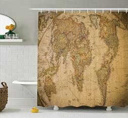 Ambesonne Wanderlust Decor Collection, Anthique Old World Ma