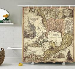 Ambesonne Wanderlust Decor Collection, Old Map Mountains Des