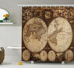 Ambesonne Wanderlust Decor Shower Curtain Set, Old World Map