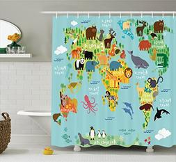 Ambesonne Map Shower Curtain Kids Decor, Animal Map of the W