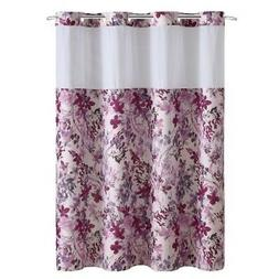Hookless Water Color Floral Print Shower Curtain with PEVA
