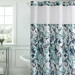 Hookless Water Color Floral Print Shower Curtain with PEVA,