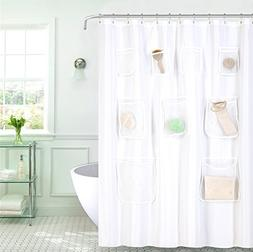 GoodGram Water Resistant Fabric Shower Curtain Liner With Po