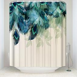 Prime Leader Watercolor Decor Shower Curtain Peacock Feather