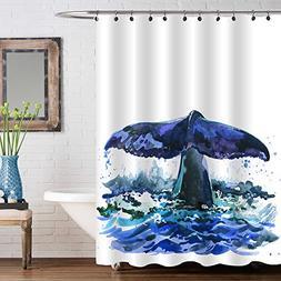 MitoVilla Watercolor Art Decor Shower Decorations Navy Blue