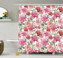 Ambesonne Watercolor Flower Decor Shower Curtain Set, Victor