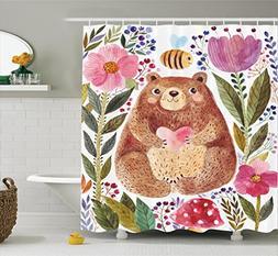 Ambesonne Watercolor Flower Decor Shower Curtain Set, Modern