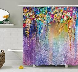 Ambesonne Watercolor Flower Home Decor Shower Curtain, Abstr