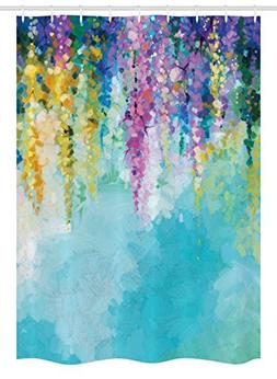 Ambesonne Watercolor Flower Home Decor Stall Shower Curtain,