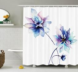 Ambesonne Watercolor Flower Shower Curtain, Flower Drawing w