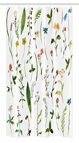 Ambesonne Watercolor Flower Stall Shower Curtain, Different