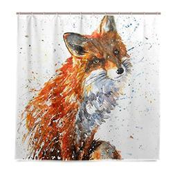 ALAZA Watercolor Fox Shower Curtain Waterproof Polyester Bat