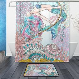 ALAZA Set of 2 Watercolor Mermaid 60 X 72 Inches Shower Curt