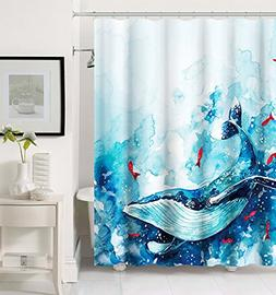 Get Orange Watercolor Ocean Whale Red Goldfish with Sea Wave