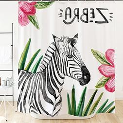 Orange Design Animal Watercolor Zebra Shower Curtain Hooks 7