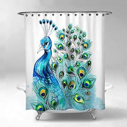 Lume.ly - Colorful Elegant Peacock Design Fabric Shower Curt