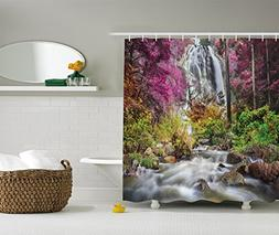 Ambesonne Waterfall Decor Collection, Colorful Forest Bush F