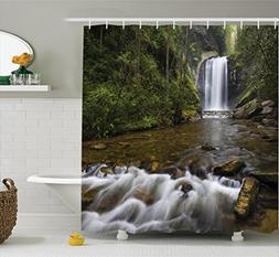 Ambesonne Natural Waterfall Decor Collection, Waterfalls in