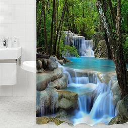 3D Waterfall Scenery Waterproof Shower Curtain Bathroom Prod