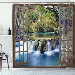 Waterfall Shower Curtain Deep Down in Forest Print for Bathr