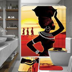 Waterproof African Girl Non-Slip Bathroom Shower Curtain Toi
