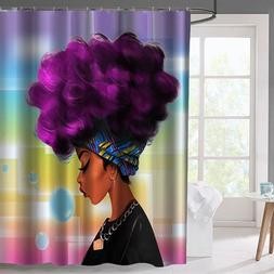 Waterproof African Women Black Shower Curtain Girl w/ Purple