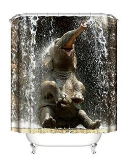 Waterproof Bathroom Fabric Shower Curtain, Elephant Picture