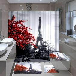 Waterproof Bathroom Shower Curtain 4PCS Bathroom Bath Mat Se