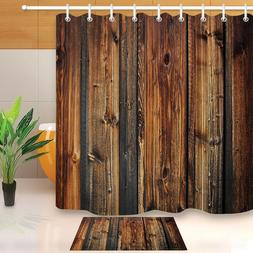 Waterproof Fabric Rustic Wood Shower Curtain Liner Bathroom