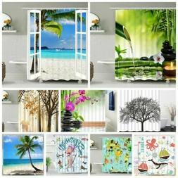 Waterproof Fabric Scenery Girls Bathroom Shower Curtain Pane