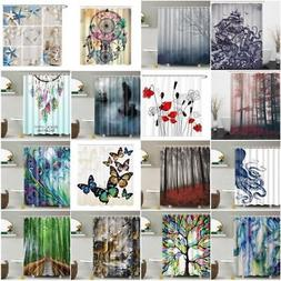 Waterproof FabricBathroom Shower Curtain  Nature Scenery Pan