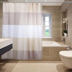 Shower Curtain with Strip Pattern Polyester Fabric Mildew Re