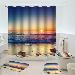 Waterproof Shower Curtain Non-Slip Rug Three Set  Bathroom D