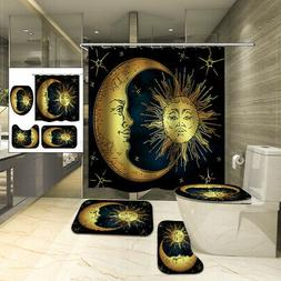 Waterproof Shower Curtain Non-slip Toliet Bath Mat Pedestal