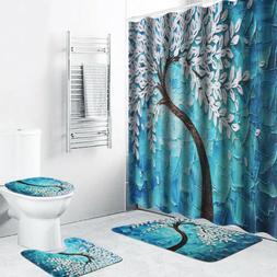 Waterproof Shower Curtain Set Home Bathroom Non-slip Bath Ma