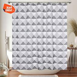 COSCOV Waterproof Triangle Fabric Shower Curtain Set with Ho