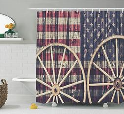 Ambesonne Western Decor Shower Curtain Set, Big Antique Cart