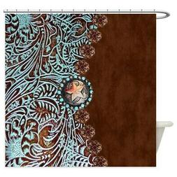 CafePress Western Turquoise Tooled Leather Shower Curtain