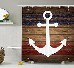 White Boat Anchor Marine Nautical Shower Curtain Set with Ho