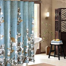 Uphome Beautiful White Cherry Blossom Bathroom Shower Curtai