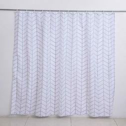 White Concise Chevron Pattern Polyester Waterproof Shower Cu