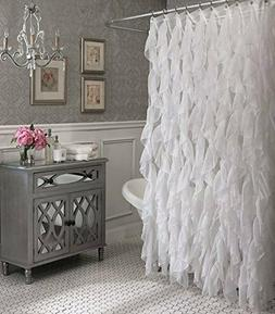 cascade shabby chic ruffled sheer shower curtain