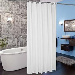 "White Fabric Shower Curtain Liner 72""x78"" Extra Long w/ Hook"