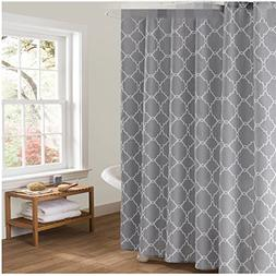 White and Grey Fabric Shower Curtain for Bathroom Decor Moro