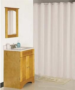 white hookless shower curtain